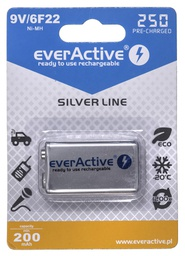[5902020523413] Rechargeable batteries everActive Ni-MH 6F22 9V 250 mAh Silver Line