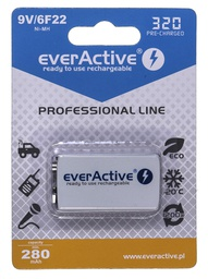 [5902020523741] Rechargeable batteries everActive Ni-MH 6F22 9V 320 mAh Professional Line